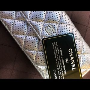 CHANEL Metallic Quilted Perforated Wallet